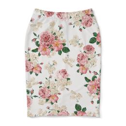 """Юбка-карандаш """"Цветочный принт"""" - цветок, лист, роза, шиповник, бутон"""