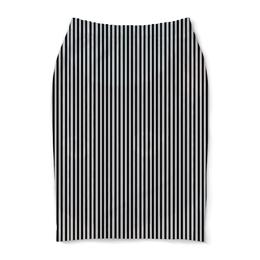 """Юбка-карандаш """"Вертикальная полоска"""" - полоска, белый, чёрный, иллюзия"""