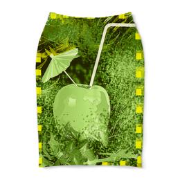 """Юбка-карандаш """"Яблочный микс"""" - яблоко, фрукт, напиток, натюрморт, абстракция"""