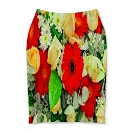 "Юбка-карандаш ""Букет цветов"" - цветы, цветочки, весна, узор, природа"