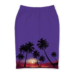 "Юбка-карандаш ""Острова в океане"" - море, закат, яхта, острова, пальмы"