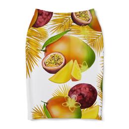 """Юбка-карандаш """"Тропические фрукты"""" - фрукты, рисунок, тропики, папайя, маракуйя"""