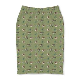 "Юбка-карандаш ""Воробьи "" - птица, птицы, воробей, зеленый"