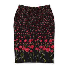 """Юбка-карандаш """"Гвоздики"""" - цветы, красные, гвоздики"""