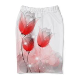 """Юбка-карандаш """"Цветочный арт"""" - цветы, романтика, весна, радость, абстракция"""
