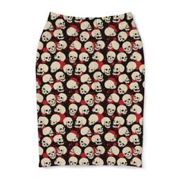 "Юбка-карандаш ""Крупные черепа"" - skull, череп, арт, черепа, skulls"