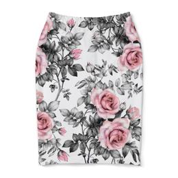"Юбка-карандаш ""Цветы"" - цветы, розы"