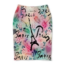 """Юбка-карандаш """"Париж"""" - париж, города, paris, цветы, я люблю"""