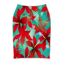 """Юбка-карандаш """"Красные цветы"""" - природа, тропики, цветы, листья, узор"""