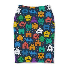"""Юбка-карандаш """"Монстры пиксели"""" - minecraft, pacman, монстры, pixel art, пиксели"""