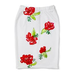 "Юбка-карандаш ""Юбка-карандаш Красные цветы"" - цветы, маки, цвести, лето"