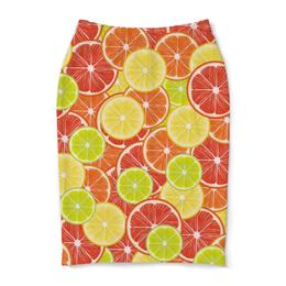"""Юбка-карандаш """"Цитрусы"""" - апельсин, лайм, лимон, грейпфрут, дольки"""