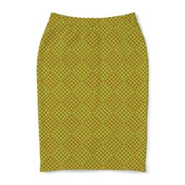 """Юбка-карандаш """"Горох в квадрате"""" - зеленый, квадрат, геометрия, коричневый, горох"""