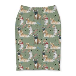 "Юбка-карандаш ""Собаки символ года 2018"" - корги, осень, собака, французский бульдог"