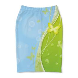 """Юбка-карандаш """"Летний мотив"""" - бабочки, лето, небо, трава, мыльные пузыри"""