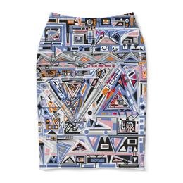 "Юбка-карандаш ""Ташизм"" - арт, узор, синий, абстракция, фигуры"