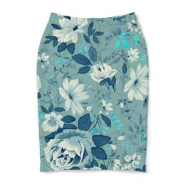 """Юбка-карандаш """"Цветы. Акварель"""" - цветы, лист, роза, синий, акварель"""