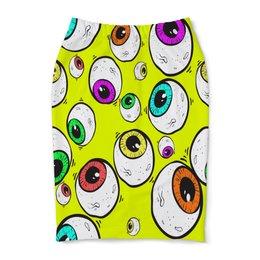 "Юбка-карандаш ""Глаза"" - глазки, мульт, узор, круги, глаза"
