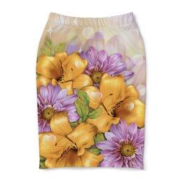 "Юбка-карандаш ""Цветы"" - лето, цветы"