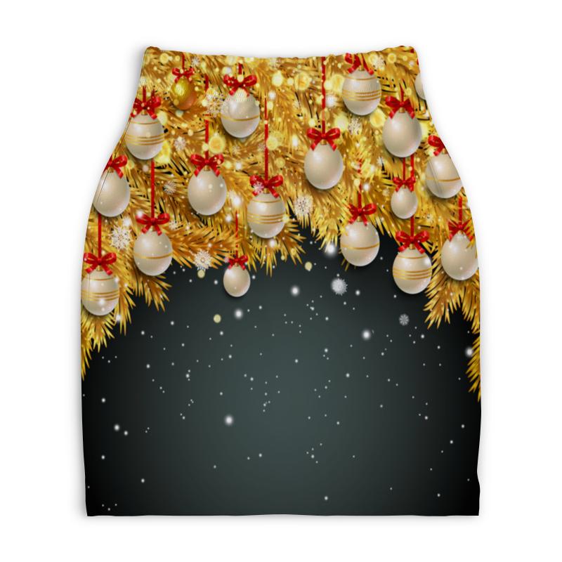 Юбка-карандаш укороченная Printio Новогодние украшения