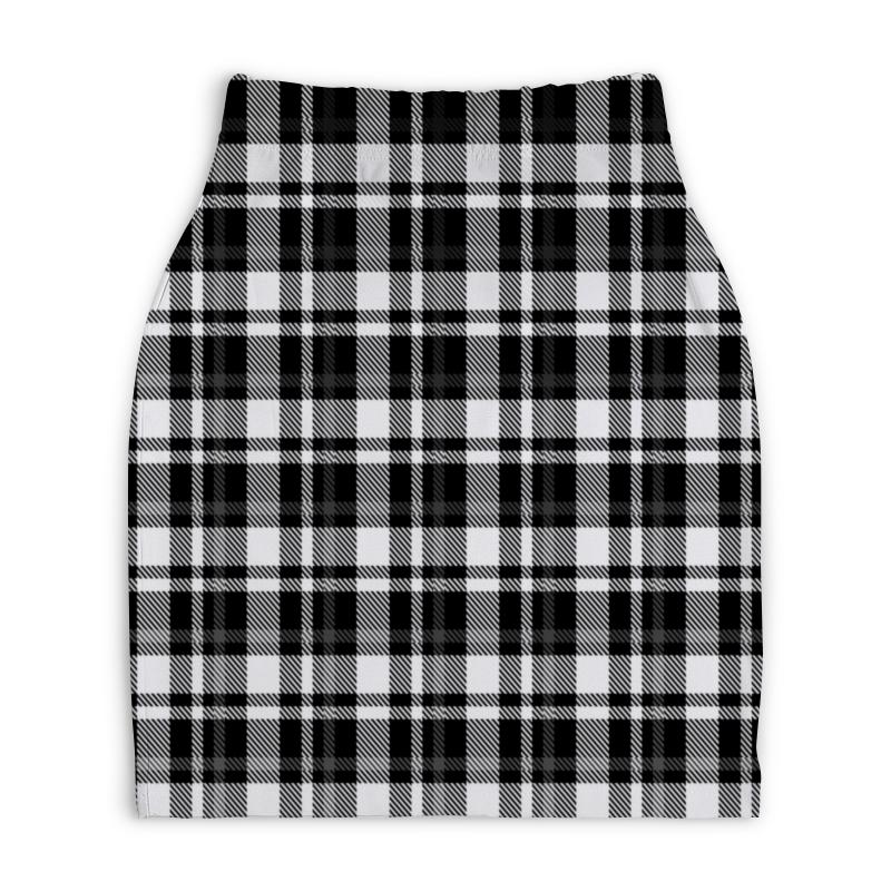 Юбка-карандаш укороченная Printio Черно-белая клетка юбка карандаш укороченная printio черно белый орнамент