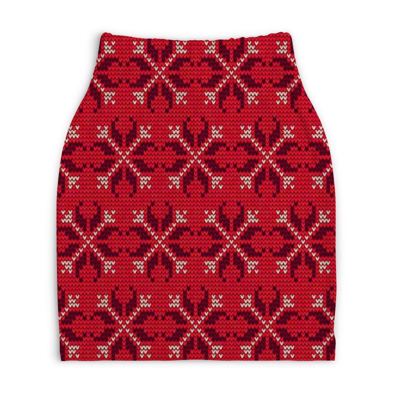 Юбка-карандаш укороченная Printio Узор новогодний юбка карандаш укороченная printio новогодний орнамент