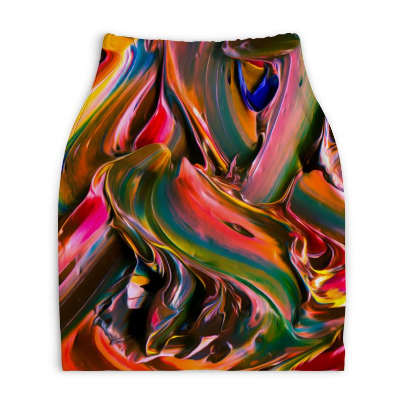 Юбка-карандаш укороченная Printio Смесь красок юбка карандаш укороченная printio смесь красок