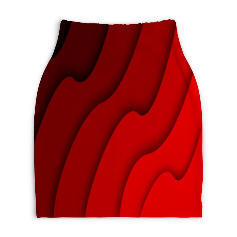 Юбка-карандаш укороченная Printio Красные волны юбка карандаш printio цветные волны