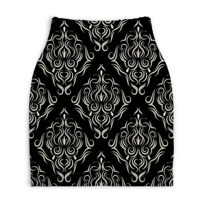 Юбка-карандаш укороченная Printio Черно белая роспись юбка карандаш укороченная printio черно белый орнамент