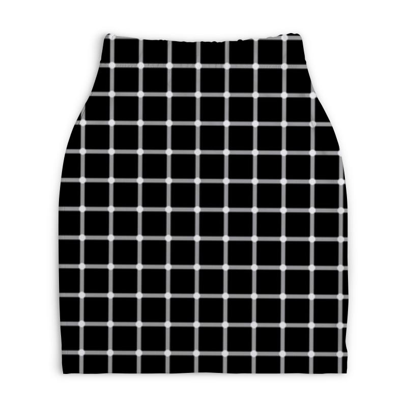 Юбка-карандаш укороченная Printio Чёрная клетка пересечения