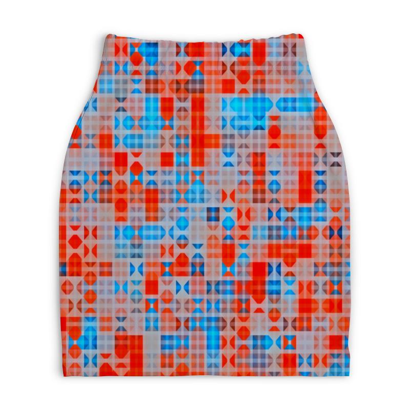 Юбка-карандаш укороченная Printio Цветные фигуры юбка карандаш printio цветные волны