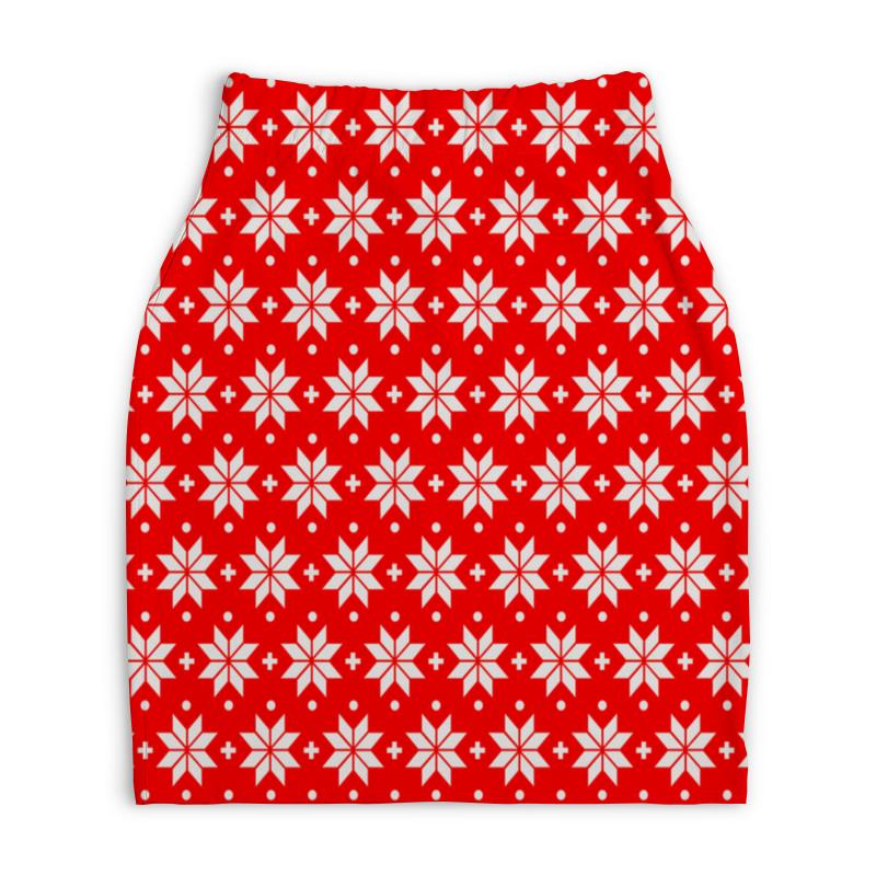 Юбка-карандаш укороченная Printio Красно-белый узор юбка карандаш укороченная printio белый горох