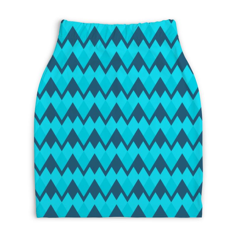 Юбка-карандаш укороченная Printio Голубой орнамент юбка карандаш укороченная printio новогодний орнамент