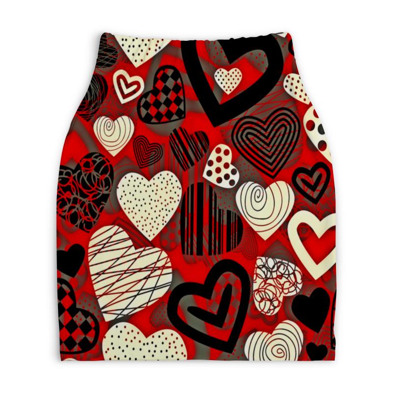 Юбка-карандаш укороченная Printio Сердце юбка карандаш укороченная printio букеты роз
