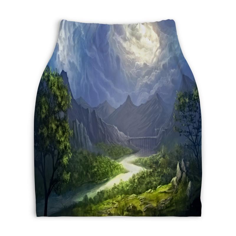 Юбка-карандаш укороченная Printio Пейзаж красками юбка карандаш укороченная printio осенний пейзаж