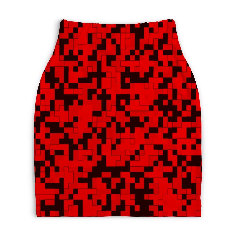 Юбка-карандаш укороченная Printio Красный камуфляж printio юбка карандаш укороченная