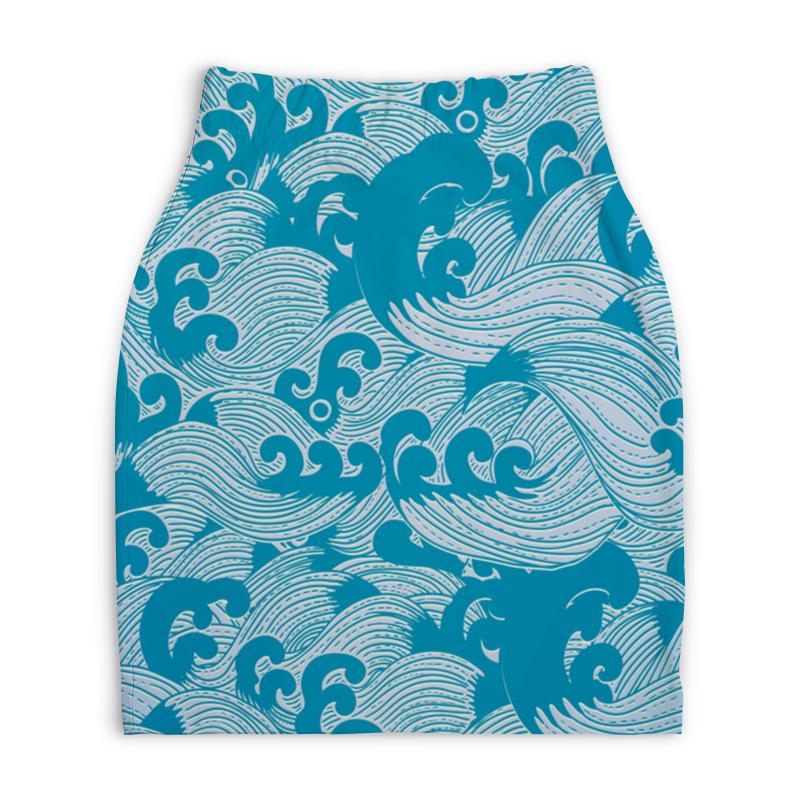 Юбка-карандаш укороченная Printio Волны юбка карандаш printio цветные волны
