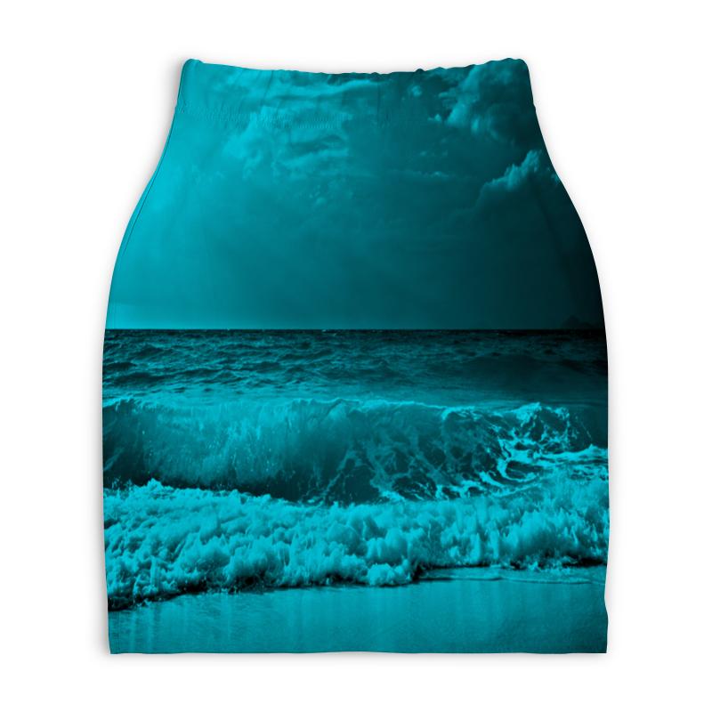 Юбка-карандаш укороченная Printio Морские волны юбка карандаш printio цветные волны