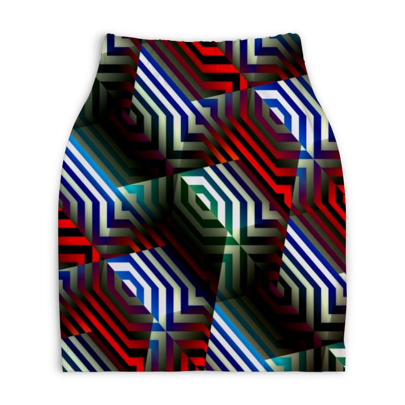 Юбка-карандаш укороченная Printio Цветной орнамент юбка карандаш укороченная printio новогодний орнамент