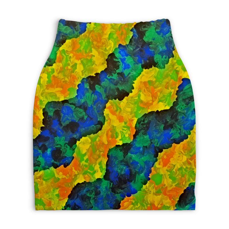 Юбка-карандаш укороченная Printio Желто-синие волны юбка карандаш укороченная printio синие полосы