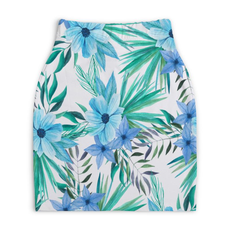 Юбка-карандаш укороченная Printio Синие цветы юбка карандаш укороченная printio синие полосы