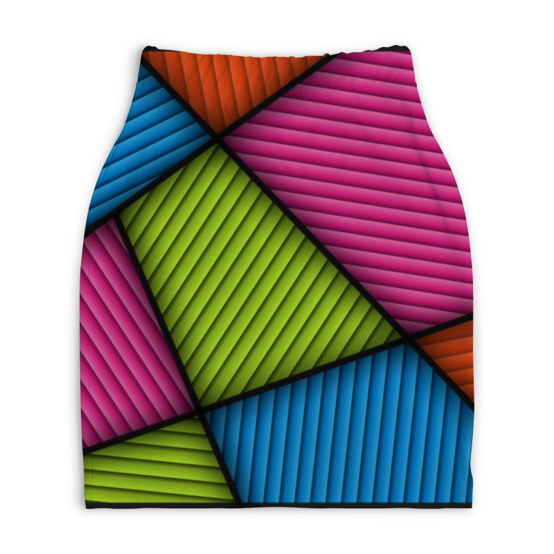 Юбка-карандаш укороченная Printio Цветная абстракция юбка карандаш укороченная printio синяя абстракция