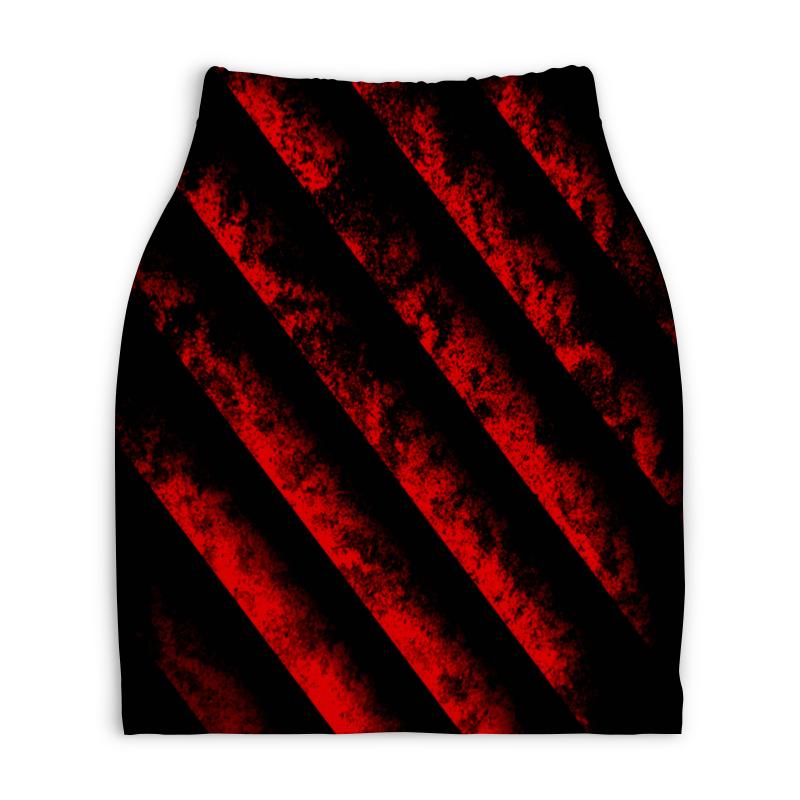 Юбка-карандаш укороченная Printio Черно-красные полосы юбка карандаш укороченная printio черно белый орнамент