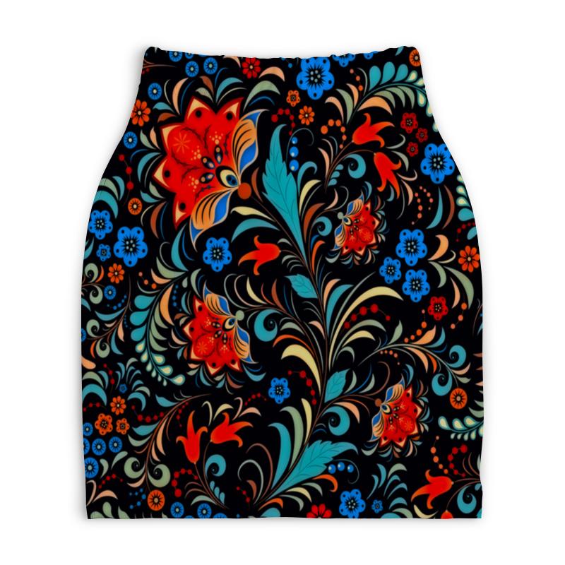 Юбка-карандаш укороченная Printio Цветочная роспись