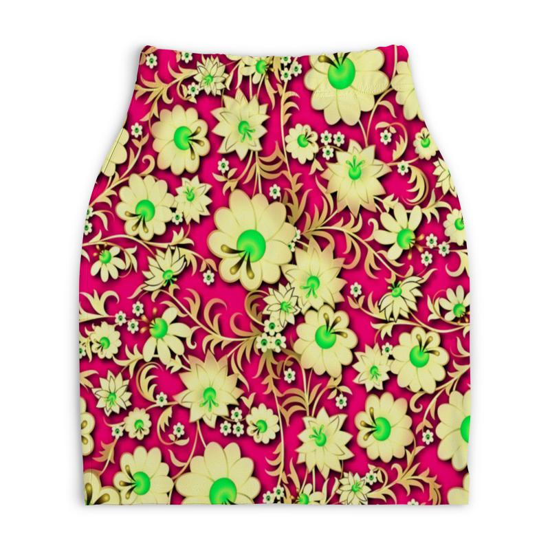 Юбка-карандаш укороченная Printio Цветочки юбка карандаш укороченная printio букеты роз