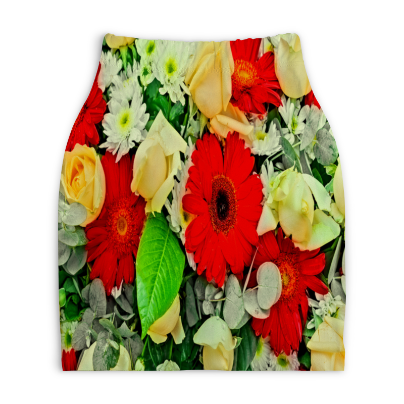 Юбка-карандаш укороченная Printio Букет цветов букет из цветов жасмина