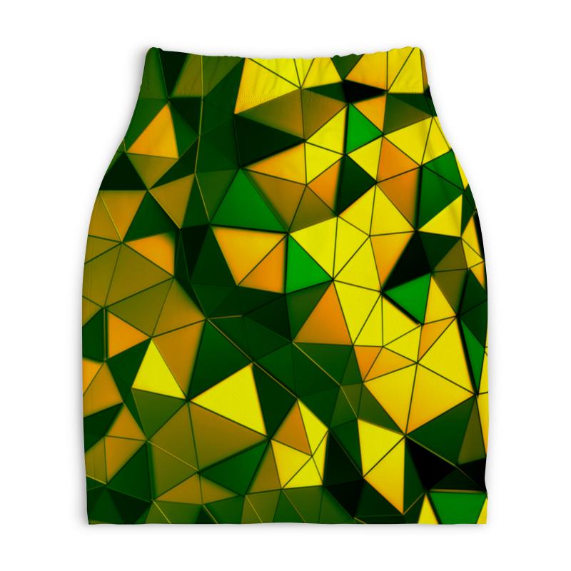 Юбка-карандаш укороченная Printio Желто-зеленые стекла