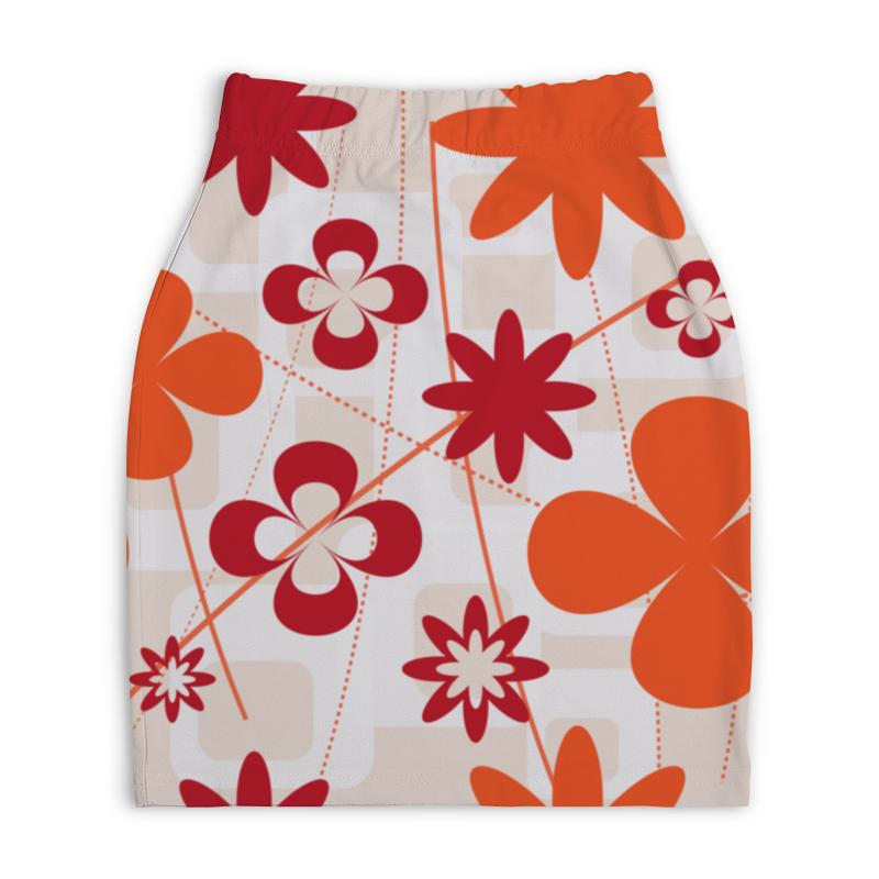 Юбка-карандаш укороченная Printio Цветочная абстракция юбка карандаш printio цветочная сказка