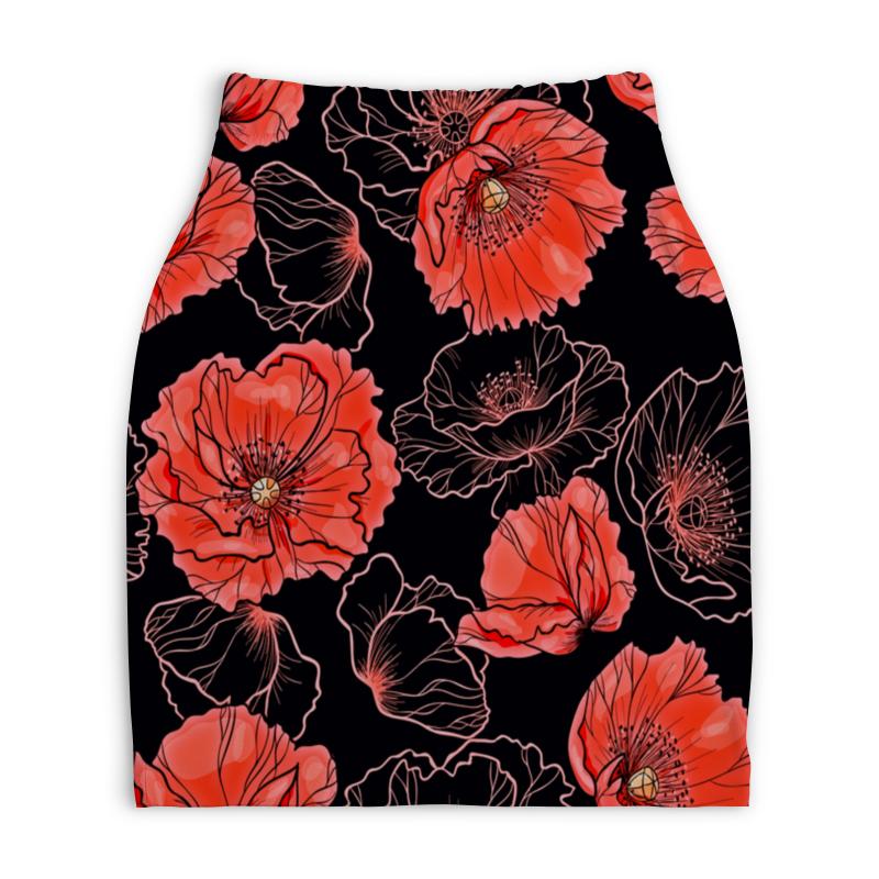 Юбка-карандаш укороченная Printio Цветы юбка карандаш printio райский сад