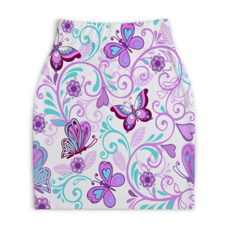 Юбка-карандаш укороченная Printio Цветные бабочки юбка карандаш printio цветные волны